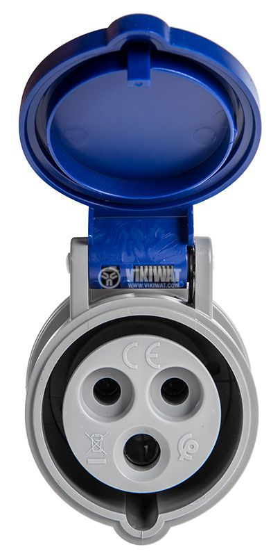 Industrial socket, 16A, 230VAC, 2P+E, SCAME 313.1643  - 2
