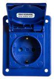 Електрически контакт с капак, единичен, 16A, 230VAC, IP54, за вграждане, син, DOMO, SCAME 570.4062-SW