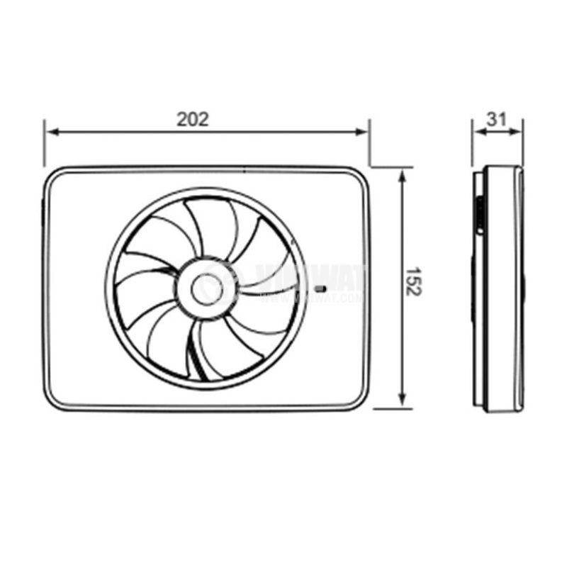 Вентилатор за баня Fresh Intellivent 2, ф98~130mm, 100~240VAC, 5W, 132m3/h, бял, IP44 - 3