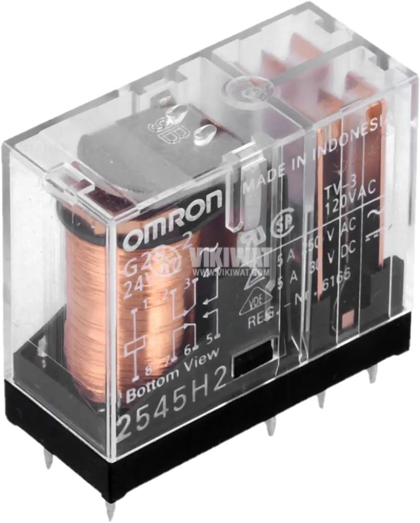 Реле електромагнитно G2R-2-24AC, бобина 24VAC, 5A, 250VAC/30VDC, DPDT, 2NO+2NC
