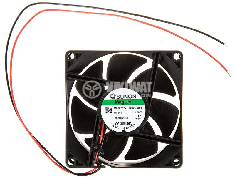 Вентилатор 24VDC, 80x80x25mm 69.29m³/h безчетков - 3
