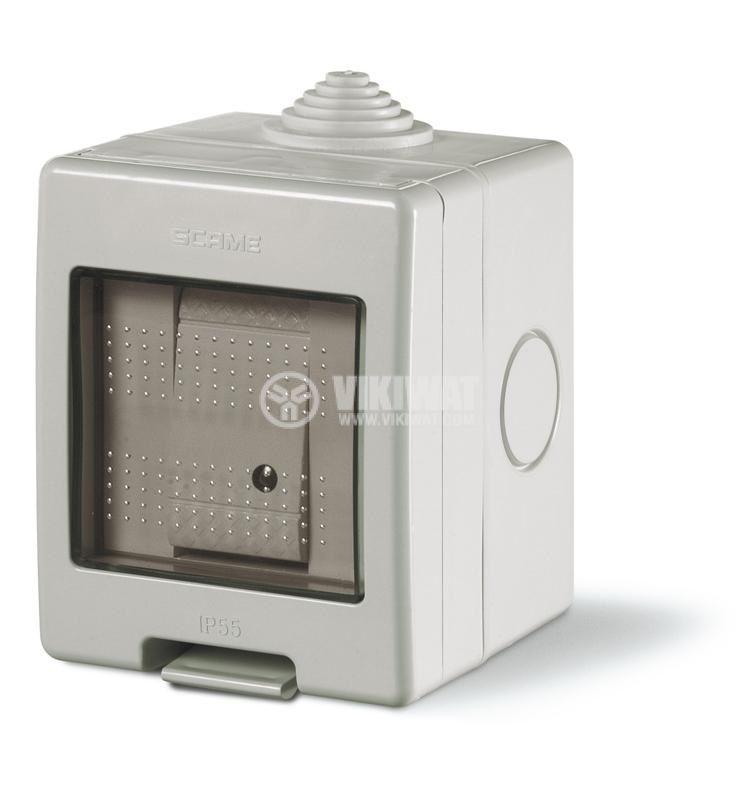 Външен електрически ключ (единичен) с капак, схема 1, сив, 16А, 250VAC, IP55, влагозащитен, UNIBOX, SCAME 136.5121-303