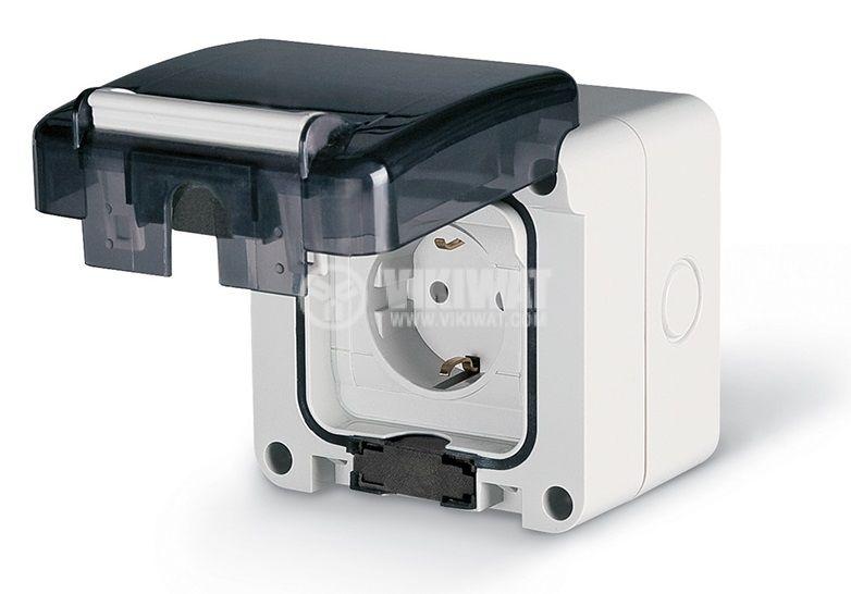 Електрически контакт с капак, единичен, 16A, 250VAC, IP66, за външен монтаж, сив/черен, Protecta, SCAME 137.6407
