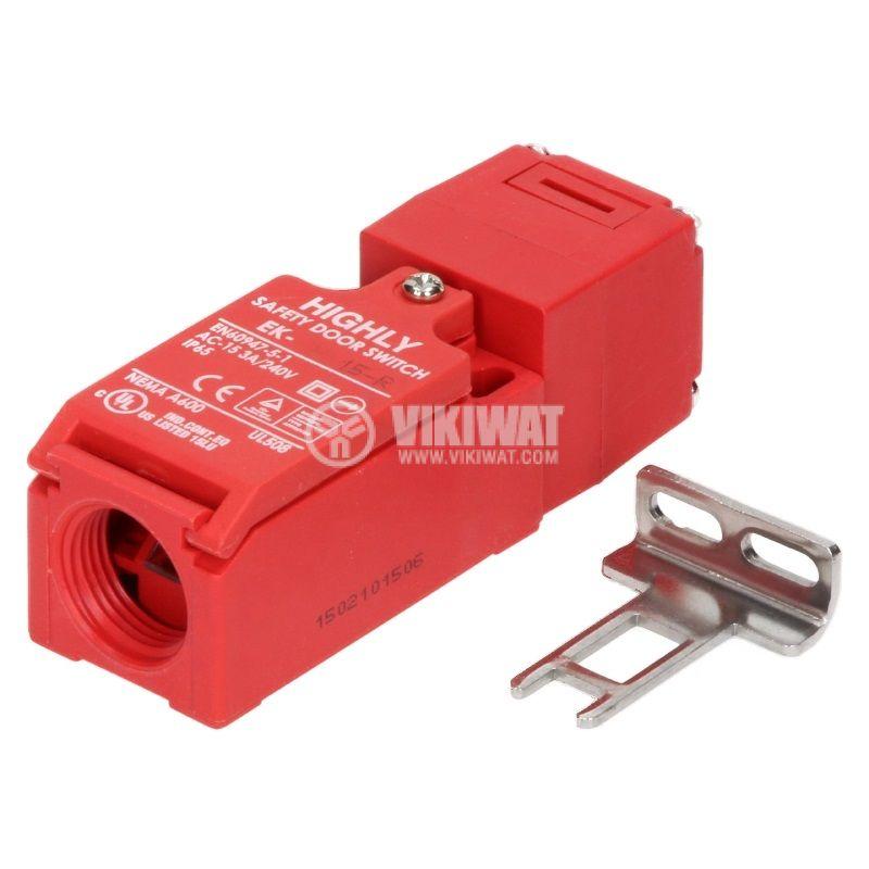 Краен изключвател EK-1-15-R, 3A/250VAC, NO+NC, задържащ, с ключ
