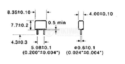 Предпазител миниатюрен бърз стопяем, RFTQ-4A, 4 A, 250 V, 8.4x4x7.7 mm - 3