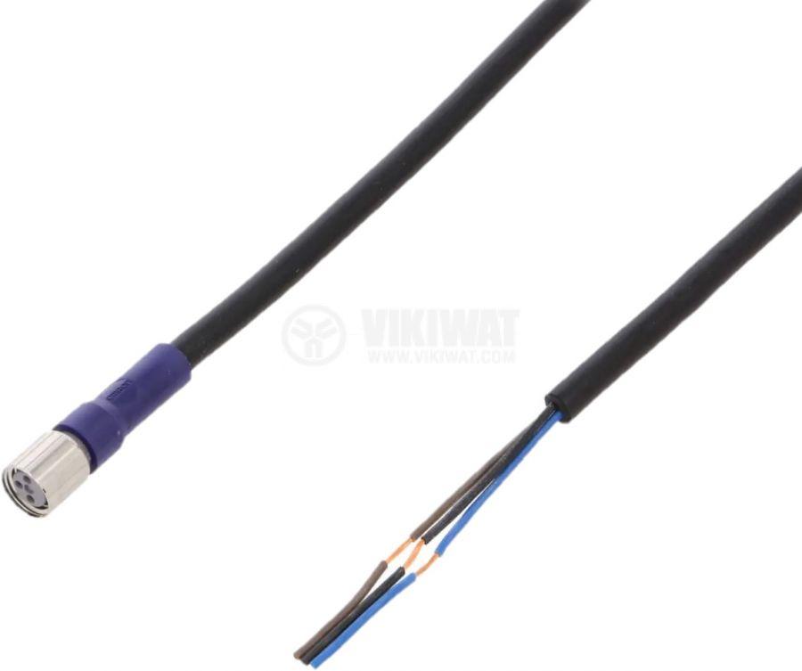 Куплунг за датчик, M8, женски, 3pin, прав, 30VDC, 2m кабел