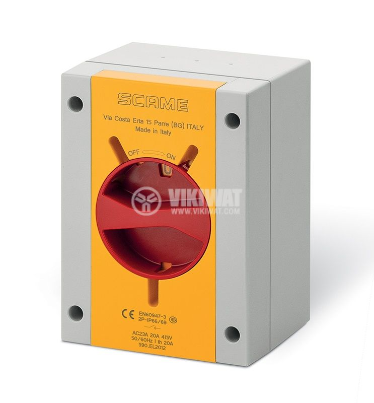 Rotary cam switch, 20А, 690VAC, in case, 3 contacts, 2 positions, 590.EM2013