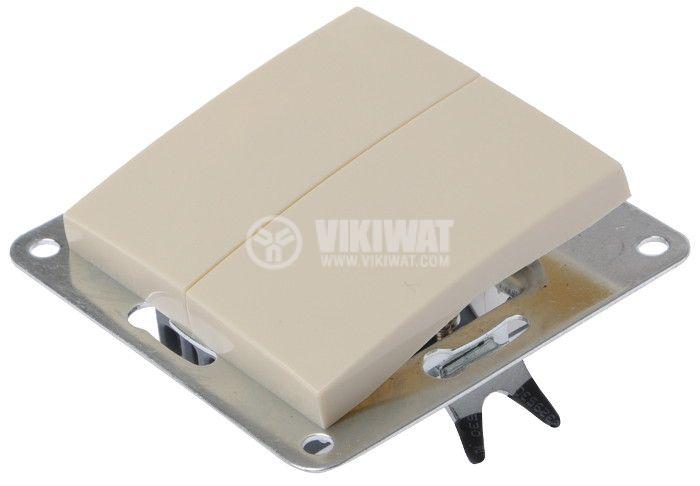 Electric Switch, LEXA 250 VAC, 10 A, cream-colored, double, glim lamp