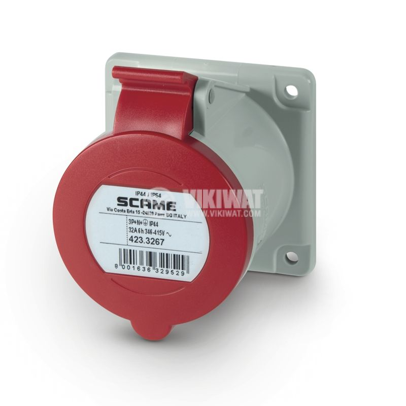 Индустриален съединител, женски, 32A, 415VAC, 3P+N+Е, SCAME 423.3267