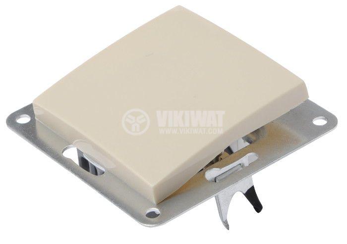 Електрически ключ, LEXA LM, за вграждане, сх.1 единичен, 10A, 250VAC, крем