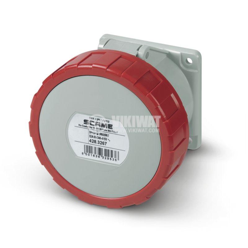 Индустриален съединител, женски, 32A, 415VAC, 3P+N+Е, SCAME 428.3267