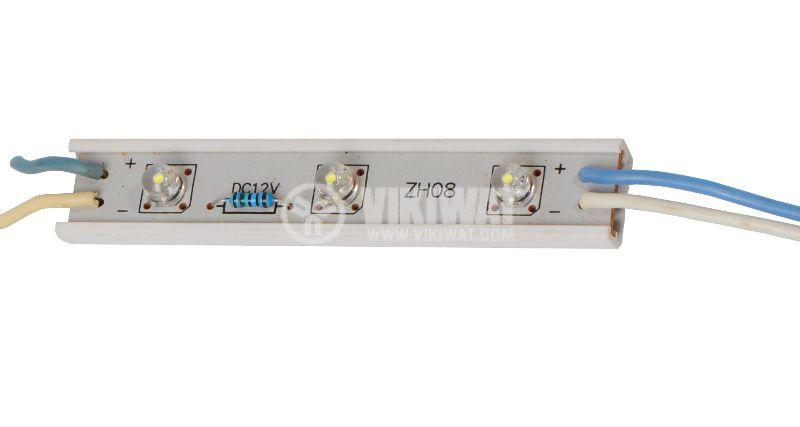 LED модул, 2LED, 0.18W, 12VDC, бял