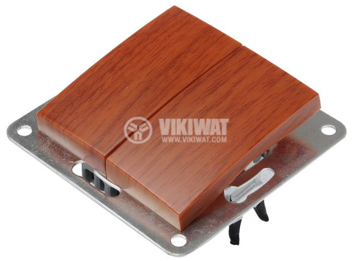 Electric Switch, LEXA 250 VAC, 10 A, wood-colored, double