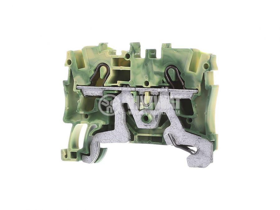 Редова клема, едноредова, 2004-1207, 32A, 600V, 4mm2, жълто-зелена, заземителна