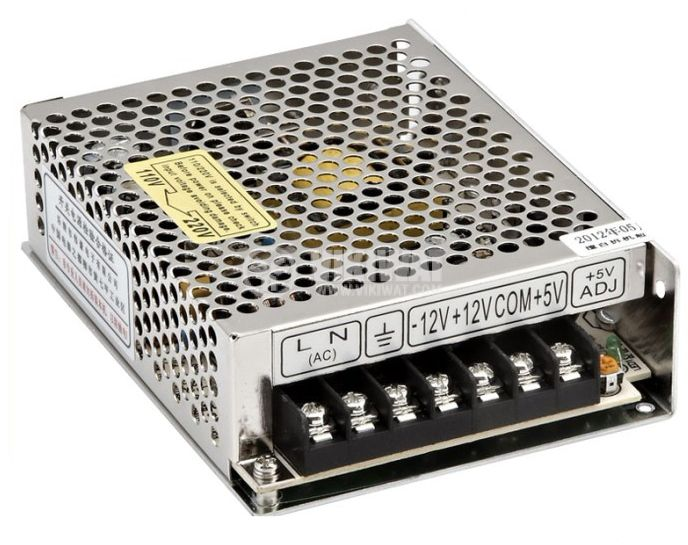 Switching power supply with triple output 12VDC/1A, -12VDC/0.5A, 5VDC/3A, 30W, IP20, VT-30B