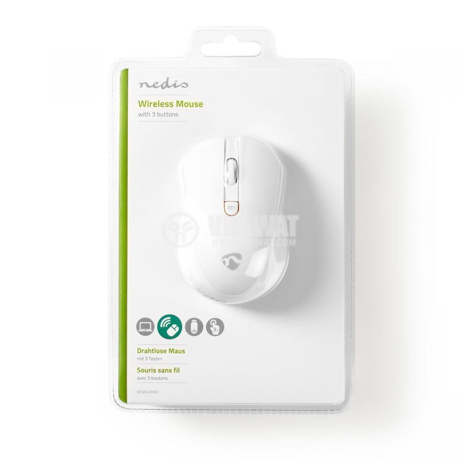 Безжична мишка с 3 бутона MSWS400WT, бял, 800/1200/1600dpi, NEDIS - 6