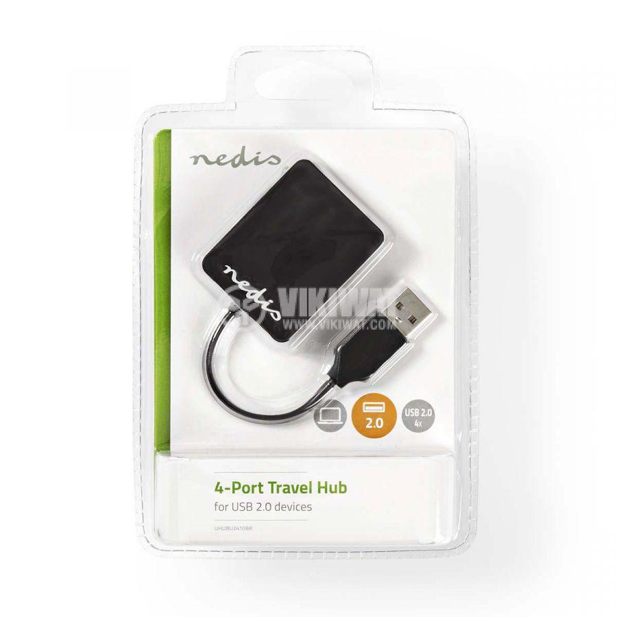 USB хъб 4 порта, UHUBU2410BK, черен, USB2.0 - 5