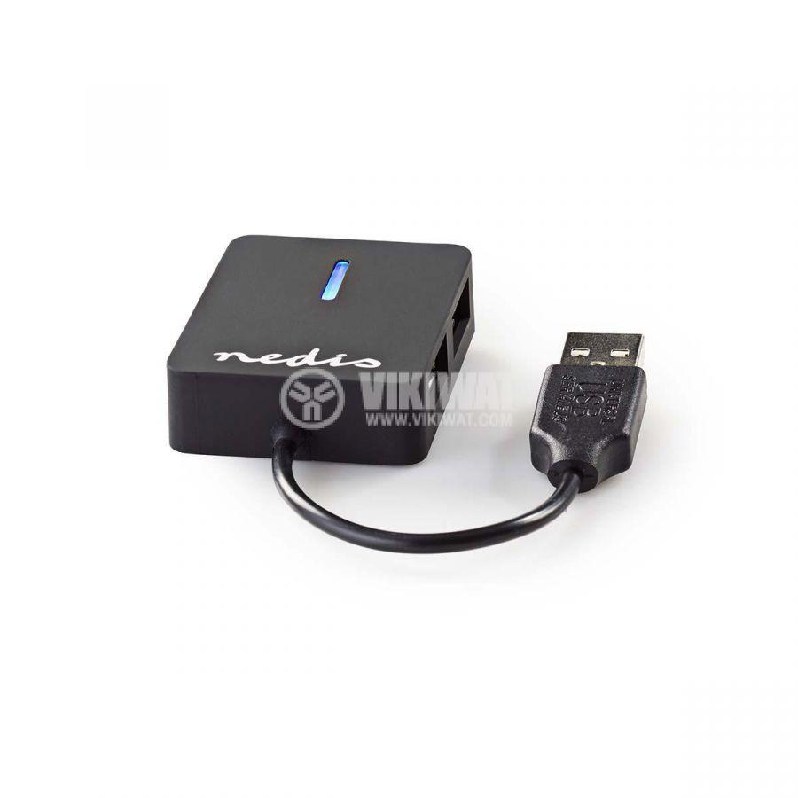 USB хъб 4 порта, UHUBU2410BK, черен, USB2.0 - 4