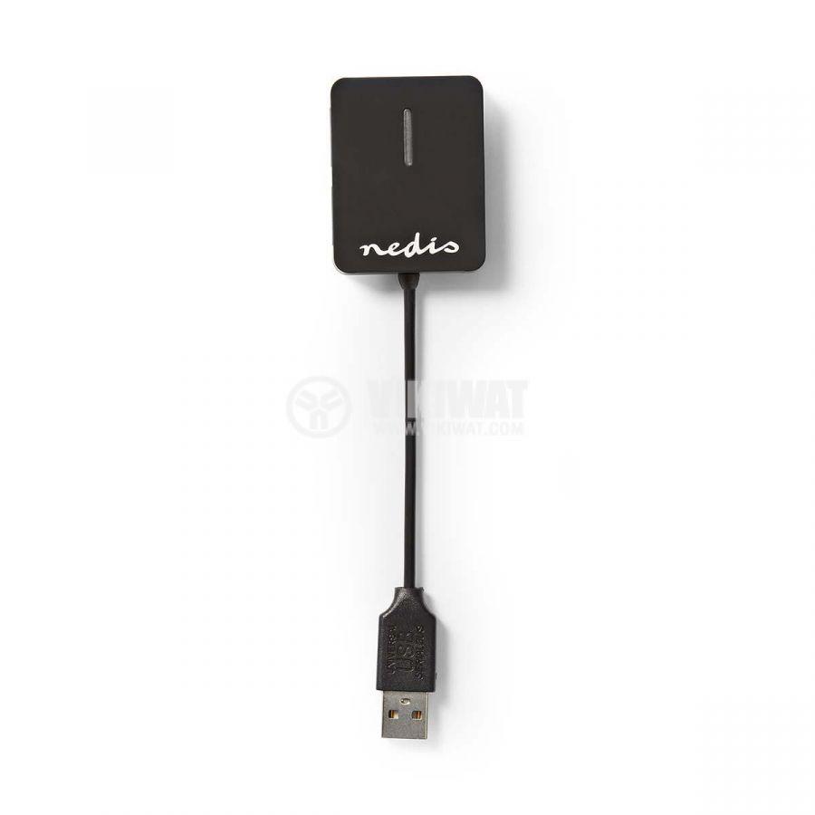 USB хъб 4 порта, UHUBU2410BK, черен, USB2.0 - 2