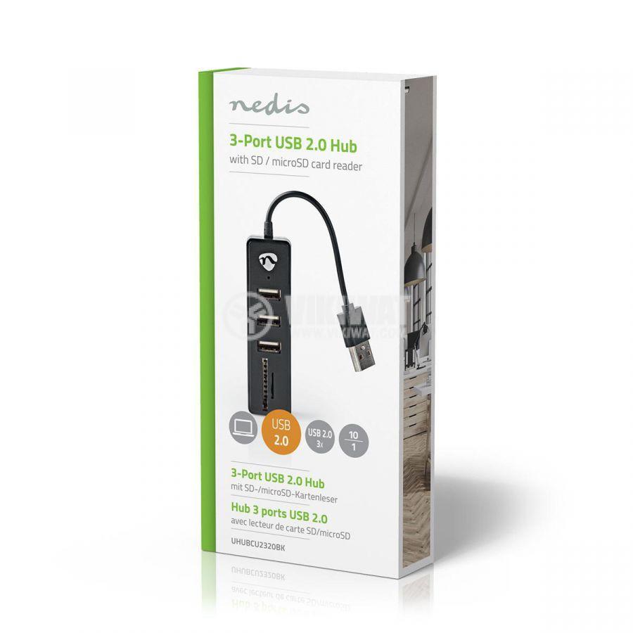 USB хъб 3 порта и четец за карти, UHUBCU2320BK, черен, USB2.0  - 5