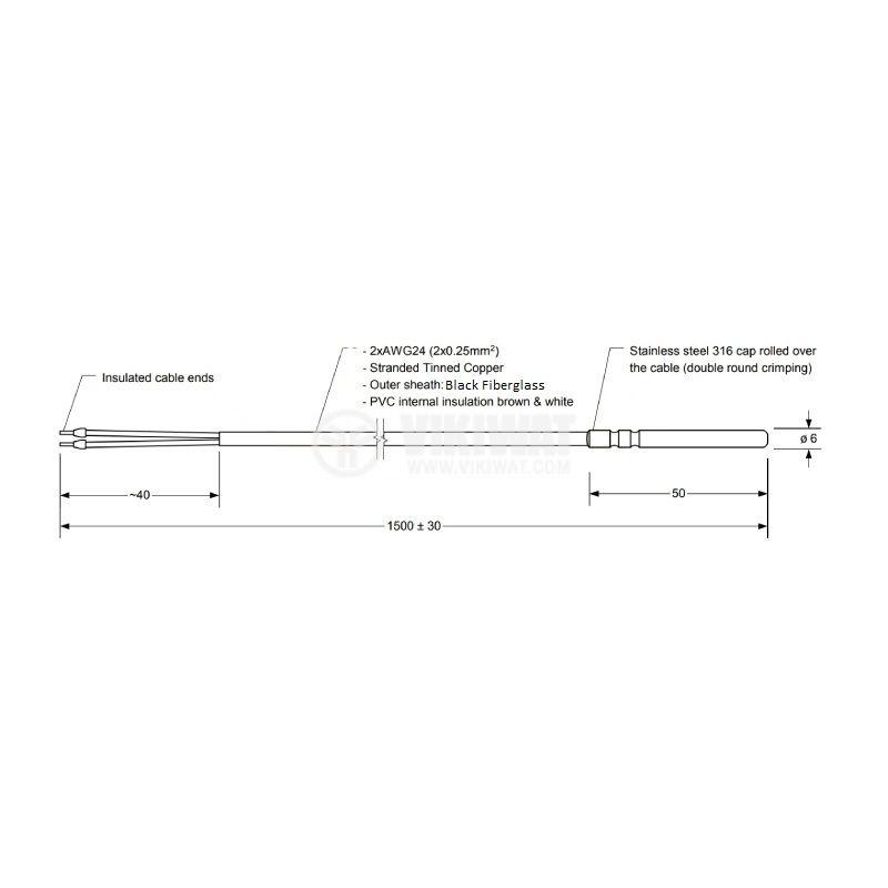Терморезистор тип Pt1000 -40°C до 350°C, ф6x50mm - 2