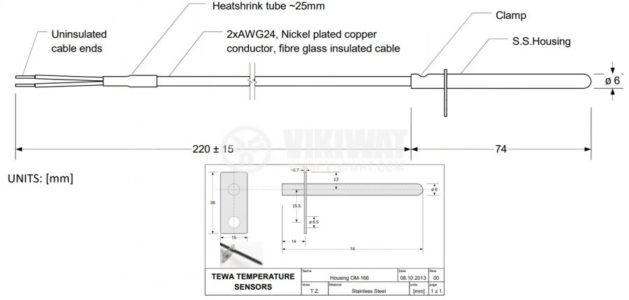 Терморезистор тип Pt1000 -40°C до 450°C, ф6x74mm  - 2