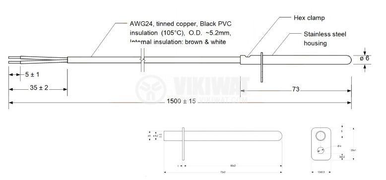 Терморезистор тип Pt1000 -20°C до 105°C, ф6x73mm - 2