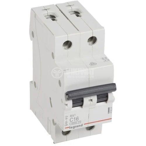 Miniature circuit breaker, two-pole, 16A, C curve, 400VDC, DIN rail, 419224, LEGRAND