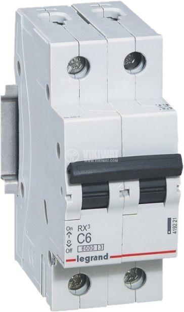 Предпазител автоматичен, двуполюсен, 6A, C крива, 400VAC, DIN шина, 419221, LEGRAND