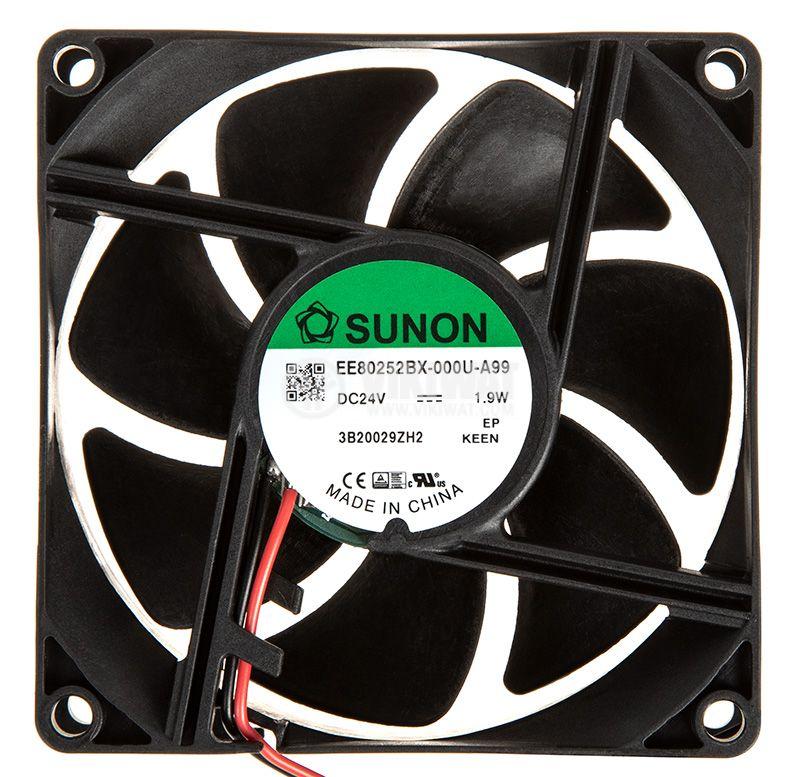 Вентилатор 24VDC, 80x80x25mm, сачмен лагер, 76.5m³/h, EE80252BX-000U-A99 - 1