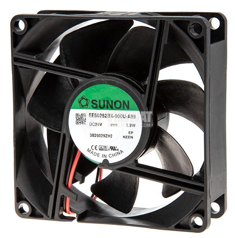 Вентилатор 24VDC, 80x80x25mm, сачмен лагер, 76.5m³/h, EE80252BX-000U-A99 - 2
