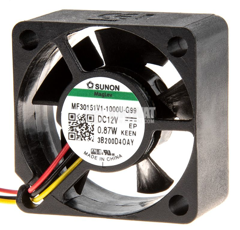 Вентилатор 12VDC, 30x30x15mm, лагер Vapo, 10.14m³/h, MF30151V1-1000U-G99, безчетков - 2