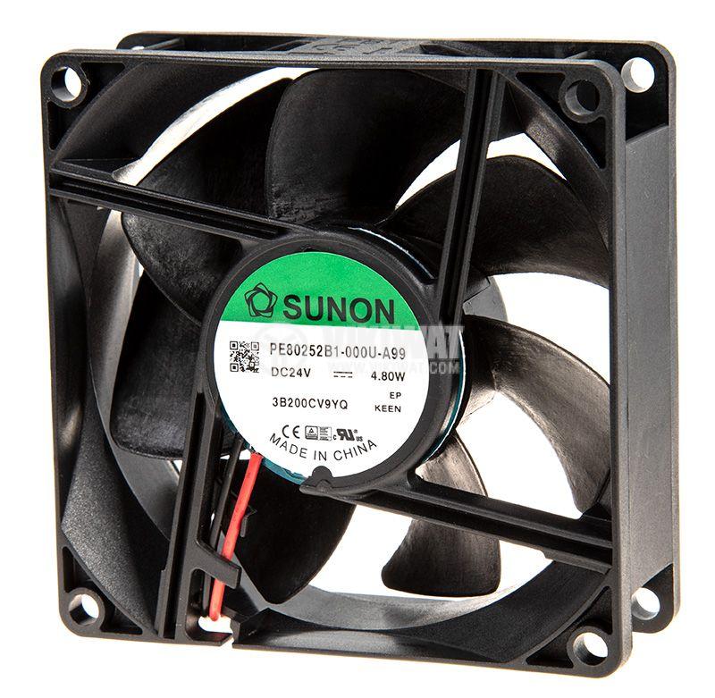 Вентилатор 24VDC, 80x80x25mm, със сачмен лагер, 101.94m³/h, PE80252B1-000U-A99, безчетков - 2