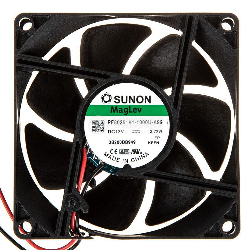 Fan 12VDC, 80x80x25mm, bearing Vapo, 101.4m³/h, PF80251V1-1000U-A99, brushless - 1