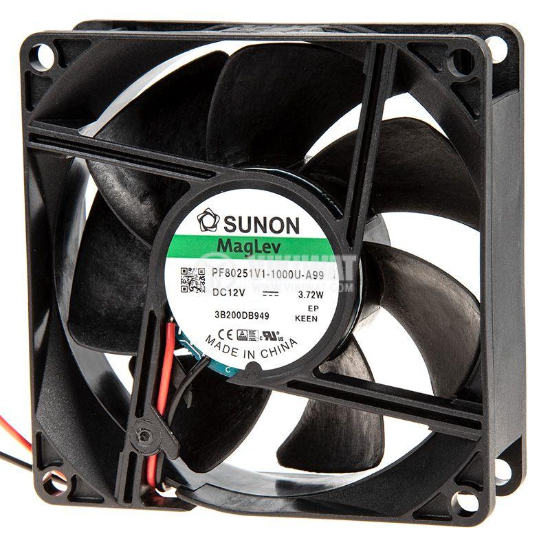 Fan 12VDC, 80x80x25mm, bearing Vapo, 101.4m³/h, PF80251V1-1000U-A99, brushless - 2