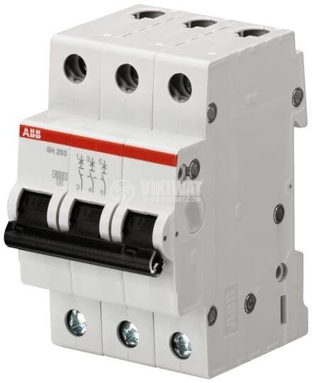 Circuit breaker, three-pole, 20A, C curve, 400VAC, DIN rail, SH203-C20 ABB