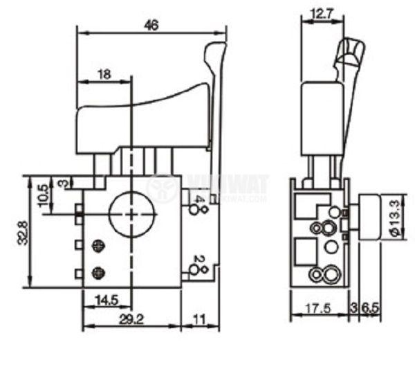 Електрически прекъсвач (ключ), регулатор на обороти и реверс за ръчни електроинструменти  F8-5/1BEK 6A/250VAC - 2