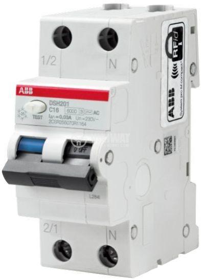 Комбинирана дефектнотокова защита, 2P, 16A, 30mA, ABB DSH201 C16 AC30