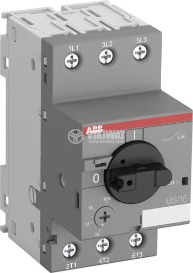 Моторна термично-токова защита, MS116-4.0, трифазна, 2.5 - 4A