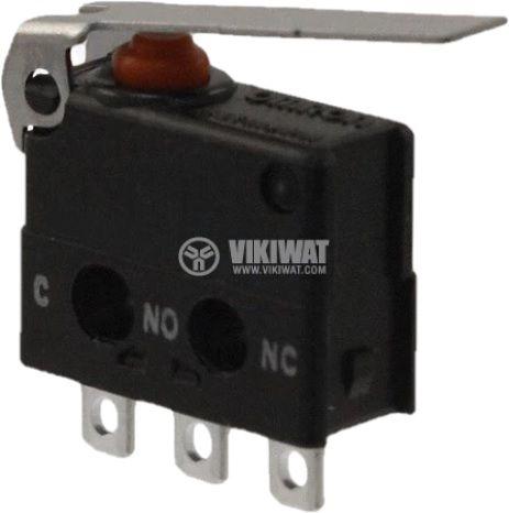 Микропревключвател с лост, SPDT, 30VDC/0.1A, 12.7x9.4x5.3mm, ON-(ON)