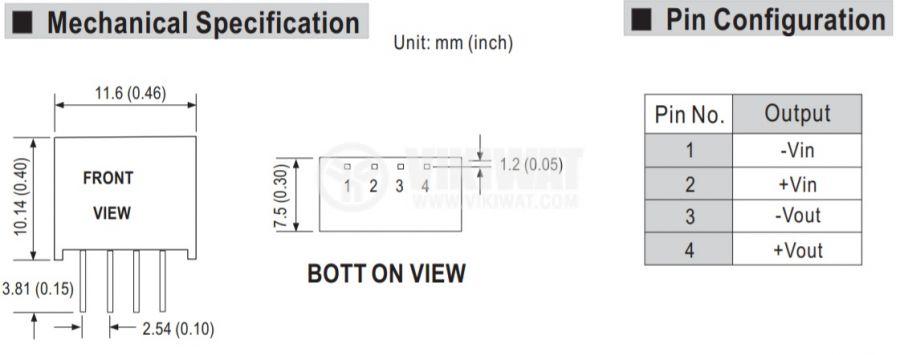 Модул конвертор DC-DC 10.8~13.2V 12V 0.033~0.167A - 2