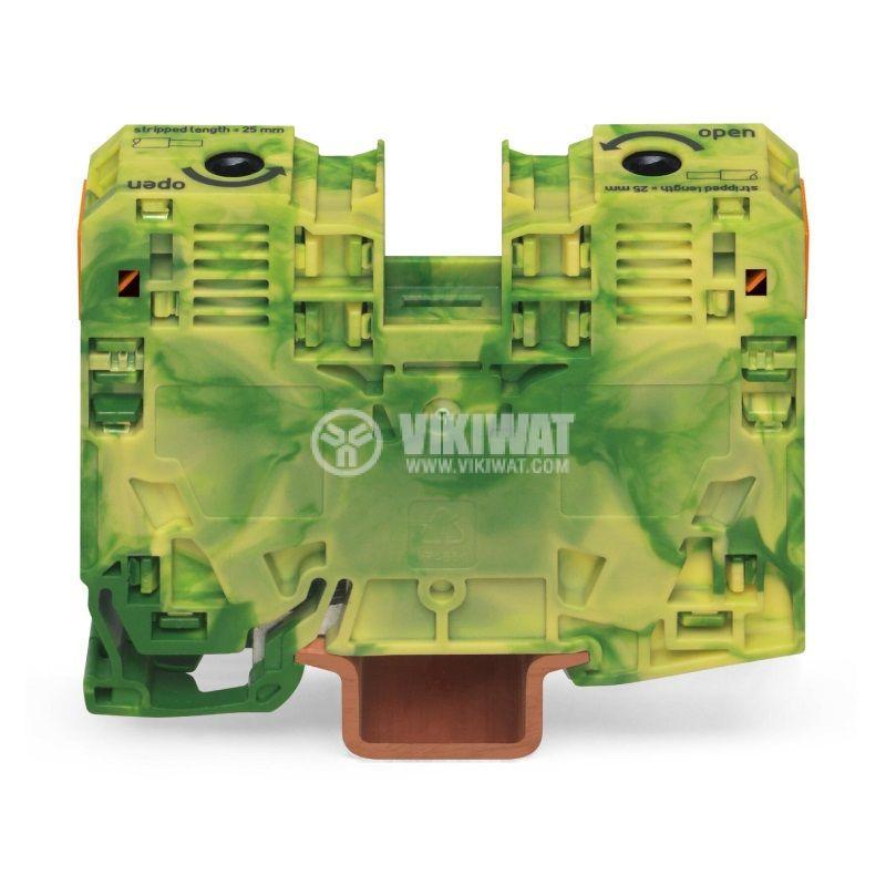 Редова клема, едноредова, 285-137, 125A, 600V, 35mm2, жълто-зелена, заземителна - 1