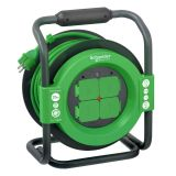 Reel extension cord, schuko, 25m, 4-pin, 3x2.5mm2, with thermal protection, black and green, IP44, SCHNEIDER ELECTRIC, IMT33148 Thorsman