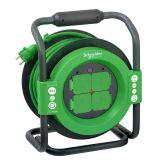 Макара удължител-разклонител, шуко, 40m, 4-ка, 3x1.5mm2, с термозащита, черно-зелена, IP44, SCHNEIDER ELECTRIC, IMT33158 Thorsman