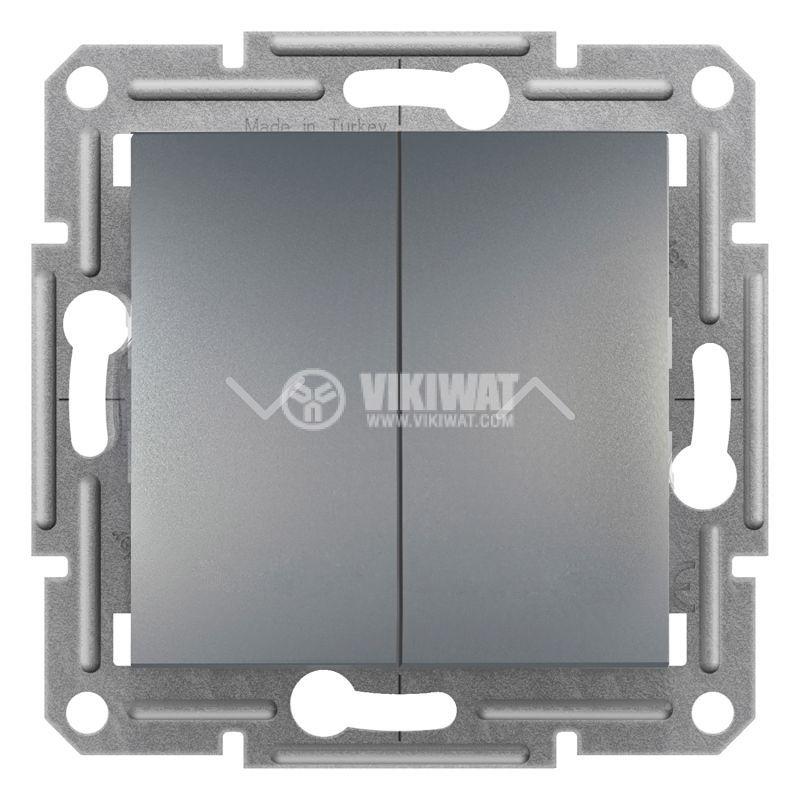 Електрически ключ бутон за ролетни щори, 10A, стомана, EPH1300362
