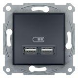 Електрически контакт, 2.1A, 5VDC, двоен, антрацит, USB, EPH2700271