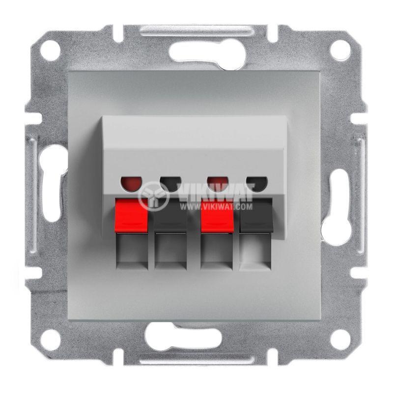 Розетка двойна, клема за тонколони, цвят алуминий, EPH5700161