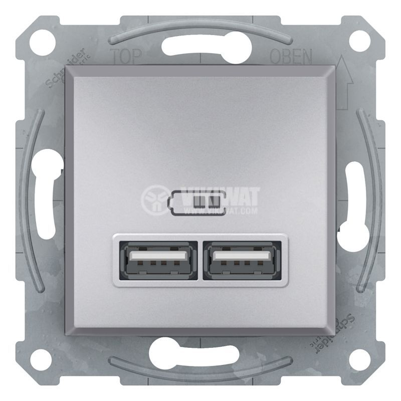 Електрически контакт, 2.1A, 5VDC, двоен, алуминий, USB, EPH2700261