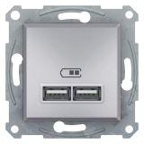 Double socket outlet, 2.1A, 5VDC, aluminium, USB, EPH2700261