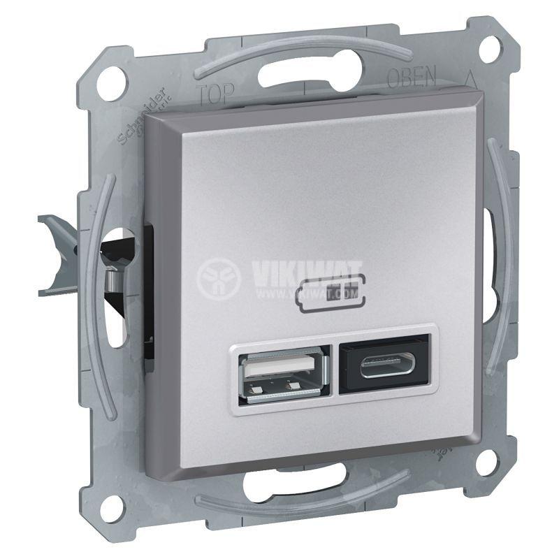 Електрически контакт, 2.4A, 5VDC, двоен, алуминий, USB, EPH2700361